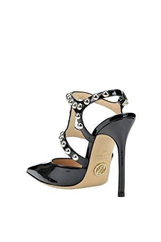 Les Femmes Luciano Padovan Mcglcat03106e Cuir Verni Noir Chaussures Haut Talon
