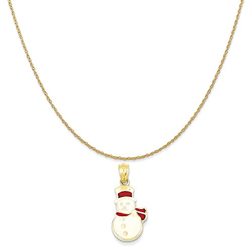 14k Yellow Gold Enameled Snowman Pendant on a 14K Yellow Gold Rope Chain Necklace, 18