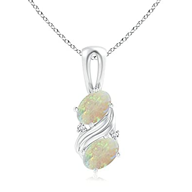 Angara Two Stone Opal Pendant in Platinum - October Birthstone Pendant PU1Tu