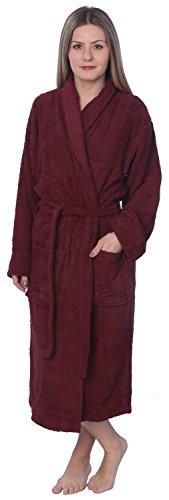 Beverly Rock Womens 100% Cotton Shawl Collar Robe Terry Cloth Bathrobe Available In Plus Size BRT1_Y18 Maroon 4X (Cloth Terry Shawl)