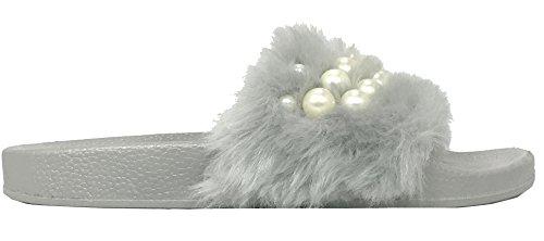 Sandalo Da Donna Scivolato In Ecopelliccia Di Perle Di Betani