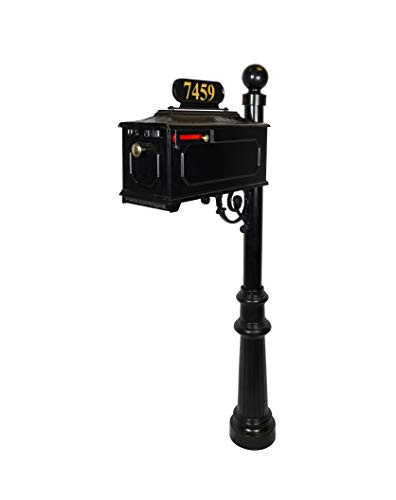 - Addresses of Distinction Williamsburg Estate Mailbox System - Black Rust Resistant Mailbox - Includes Address Plate, Numbers & Mounting Hardware, Ball Finial - Powder Coated Aluminum (Georgetown Post)