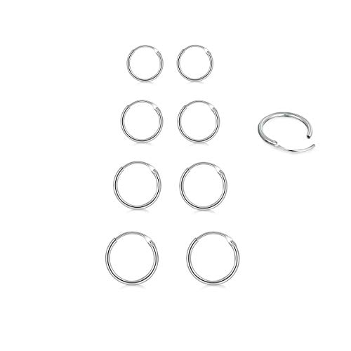 4 Pair Sterling Silver Small Endless Hoop Earrings Set, Unisex Cartilage Earrings Nose Lip Rings Body Piercing Jewelry ()