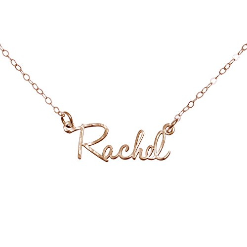 AJ`s Collection Sterling Silver Hammered Personalized Custom Name Necklace Up to 9 Characters in 925, Rose Gold Over 925, or 14k Gold Plate Over 925 (18, -