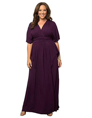 Kiyonna Women's Plus Size Indie Flair Maxi Dress 2X Boysenberry by Kiyonna Clothing