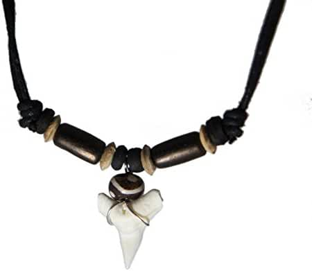 Exoticdream Real Shark Tooth Necklace Surfer Hawaiian Beach Boys Girls Men - Color Beads