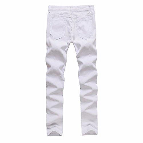 Vaqueros Jeans Pantalones Casuales Denim con Hombre Hombre Blanco Pantalón para Bolsillos Vintage Motorcycle Deportivo Pantalones TFUnqw