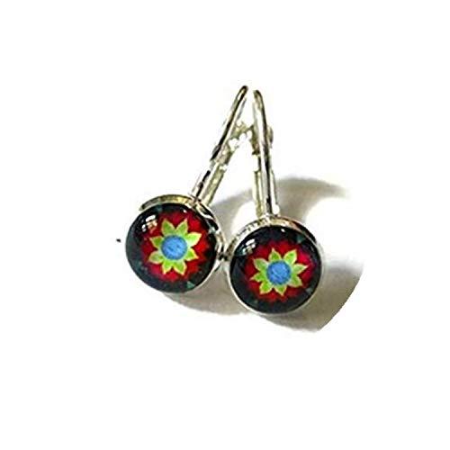 MEXICAN ART Dangle earrings,Mexican Folk Art earrings,Mexican earrings,Mexican Jewelry,ittle dangle earrings