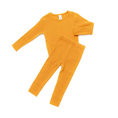Piece 2 Set Pajama Ribbed - Alex + Nova HipZoo Organic Cotton Snug-Fit Ribbed Pajamas for Kids and Toddlers (90/3-4 Years, Mustard)