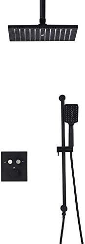 CHUNSHENN シャワーヘッドボタンコントロールサーモスタット浴室黒い加圧された空気ジェットシャワー蛇口セット入浴備品(色:ブラック) バス用品