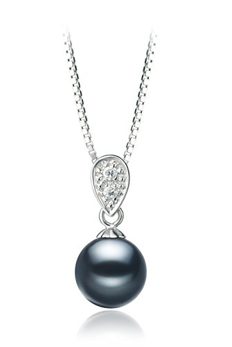 [Daria Black 7-8mm AAAA Quality Freshwater 925 Sterling Silver Cultured Pearl Pendant] (Daria Costume)