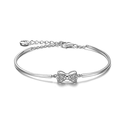 Carleen 925 Sterling Silver CZ Cubic Zirconia Bow Tie Bangle Bracelet for Women Girls
