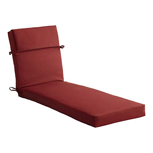 Allen roth 1 Piece Madera Linen Dark Cherry Patio Chaise Lounge Chair Cushion