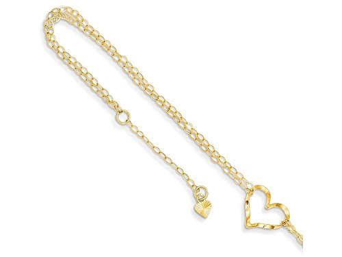Finejewelers 9 Inch 14k Yellow Gold Double Strand Heart Anklet (Smaller Ankles)