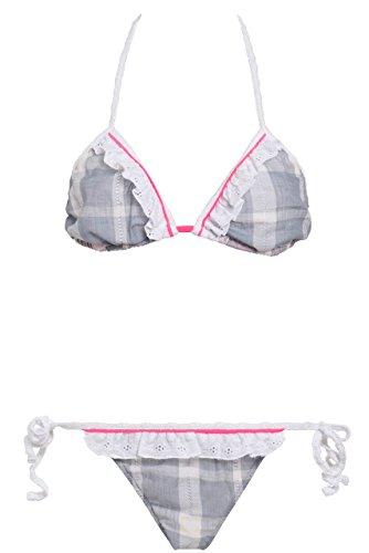 Frenchlingerieshop - Conjunto - para mujer White/grey/flashy pink