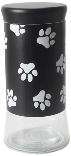 Housewares International 9-1/4-Inch Glass Pet Treats And Snacks Storage Jar, Black Background]()
