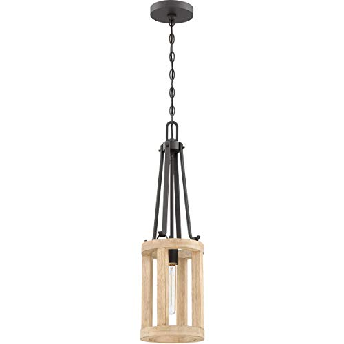 Mini Pendants 1 Light Fixtures with Cast Iron with Distressed Oak Finish Wood/Steel Material E26 8