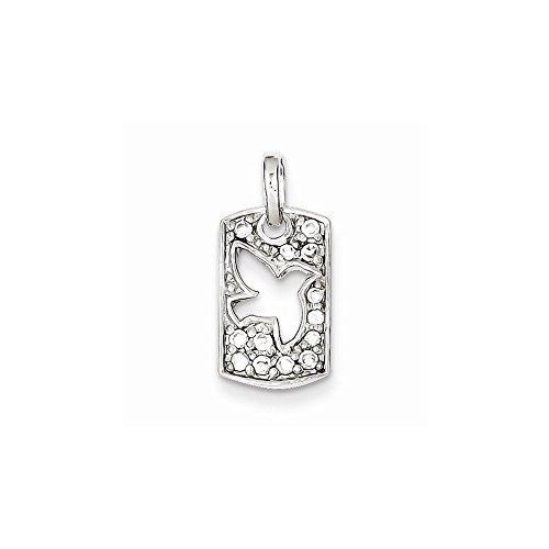 - Sterling Silver Peace CZ Dove Charm Pendant (0.59 in x 0.35 in)