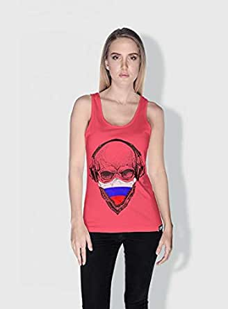 Creo Russia Skull Tanks Tops For Women - M, Pink