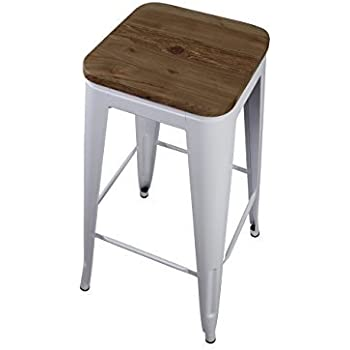 Amazon Com Gia White 30 Quot Metal Stool With Wooden Seat 1