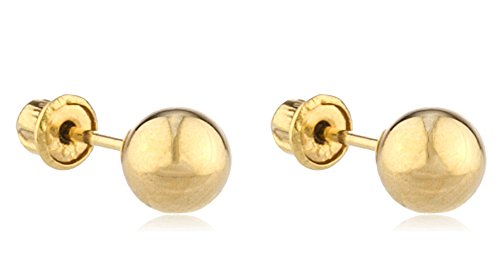 14K Gold Ball Earring 7mm Studs with Bolita Screw Backs.(GO-921 (FBA) - Gold Ball Yellow 7mm Earrings