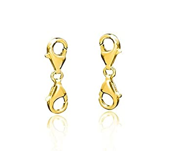 Materia Gold Double Lobster Clasp 925 Sterling Silver Gold Plated for Bracelets Necklaces # 1677