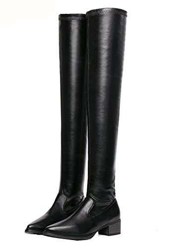 Boots Urethane Ladola Weather Pointed Cold Knee Zipper Toe Black Over Womens TAzTqxfH