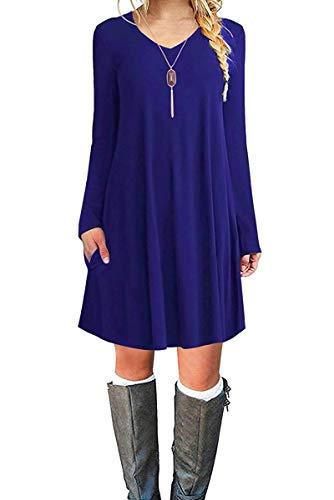 - MOLERANI Women's Long Sleeve Casual Plain Simple Pocket T-Shirt Loose Dress Royal Blue L