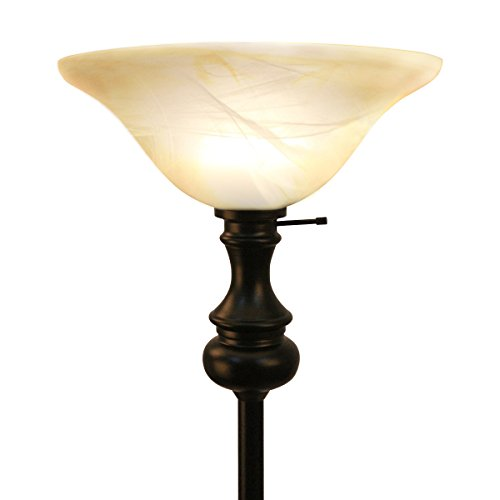 Oneach Modern Torchiere Floor Lamp 150-Watt 71.75-Inch Floor Light with Frosted Glass Shade for Reading Living Room and Bedroom 150w 3 Way Torchiere
