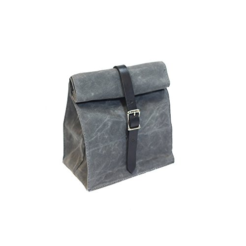 Lunch Tote - Waxed Canvas - Charcoal - Made in USA