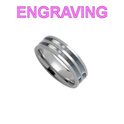 So Chic Jewels - Stainless Steel Grey Mother of Pearl 2 Stripes Band Ring - Your Message Engraved Free - Size 11