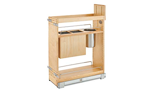 Rev-A-Shelf - 448KB-BCSC-8C - 8 in. Pull-Out Wood Base Cabinet Organizer with Knife Block and Soft-Close Slides ()