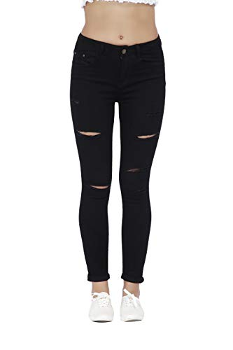 Women's Hight Waisted Butt Lift Stretch Ripped Skinny Jeans Distressed Denim Pants (US 14, Black 16)