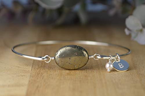 racelet- Gemstone Bead Bangle with or without Charms, Sterling Silver Filled Wire Wrap Bracelet-Custom Made to Size ()