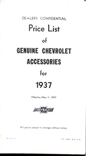 1937 Chevrolet NEW CAR Dealer Accessory Price List ebook