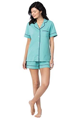 PajamaGram Womens Pajamas Short Sets - Women Summer Pajamas, Turquoise, XL (18)