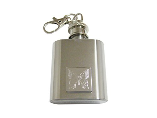Silver Toned Etched Butterfly Bug 1 Oz. Stainless Steel Key Chain Flask Etched Butterfly Pendant