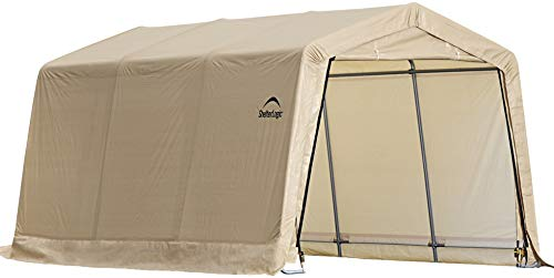 ShelterLogic 10' x 15' x 8' All-Steel Metal Frame Peak Style Roof Instant Garage and AutoShelter with Waterproof and UV-Treated Ripstop Cover ()
