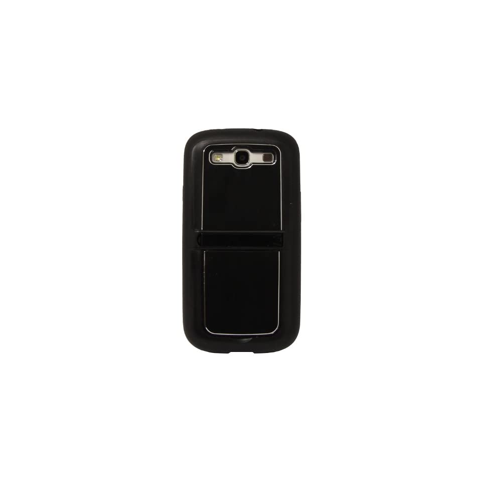 Black Metal + TPU Hybrid Case Cover with Dual Kick Stand for Samsung Galaxy S 3 I9300 Cell Phones & Accessories