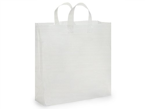 Pack Of 200, Jumbo Size 18 x 7 x 18'' Solid Clear Frosted Plastic 3 Mil Shopping Bags W/6 Mil Handle by Generic