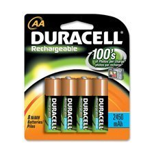 Duracell Rechargeable AA NiMH Batteries,2450mAh, 8-Count Package (Pack of 2) Total 16 Batteries + FREE BATTERY HOLDER