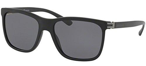 Bvlgari Men's BV7027 Sunglasses Matte Black/Polar Grey ()