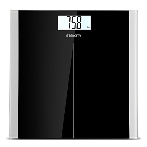 Etekcity High Precision Digital Body Weight Bathroom Scales with Step-On Technology, 28st/180kg/400lb, Backlight Display, Slim Design, Elegant Black