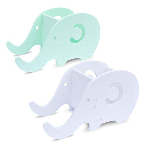 homEdge Cell Phone Stand, Set of 2 Elephant Phone Tablet Desk Pen Pencil Bracket Holder, Desk Decoration Organizer-Green+White ()