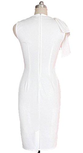 Wenseny Mujer PFA Sin Mangas El Vestido Del Lápiz Vestido De Noche Blanco