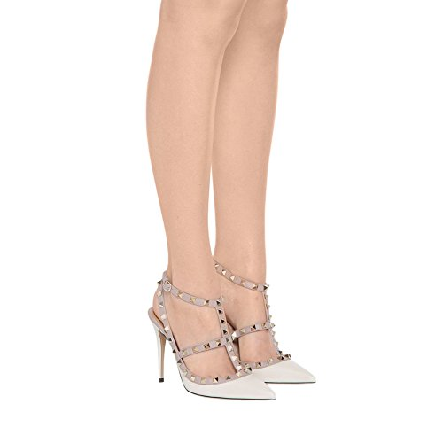 Eks Vrouwen Klinknagels Spitse Neus Bandjes Hoge Hakken Dress-party Heels Sandals White Mat