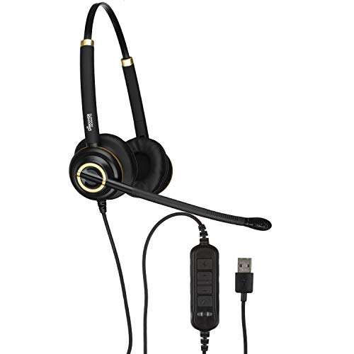 Discover D712U Deluxe Corded USB Softphone Headset for Cisco Jabber, Avaya, Skype, Lync and More ()