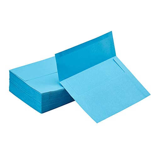 A7 Envelopes - 100-Pack Invitation Envelopes, 5 x 7 Gummed Seal Square-Flap Invite Envelope for Wedding, Holiday, Birthday, Baby Shower, 120gsm, Aqua Blue, 5.25 x 7.25 inches