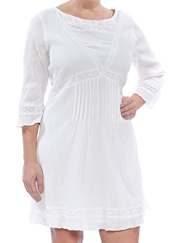 Sanctuary Womens Ellie Crinkled Eyelet Casual Dress White L