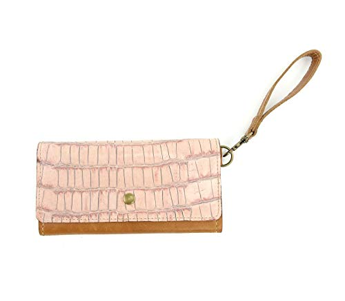 Women's Clutch Wallet in Pink Croc Embossed Leather with RFID Blocking